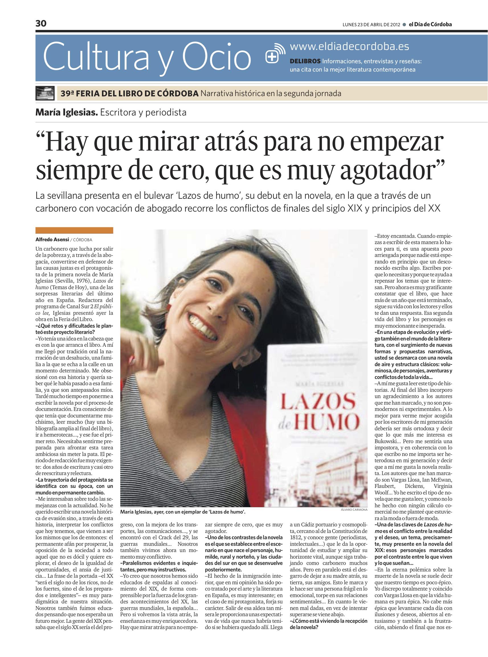 39a Feria del libro de Córdoba - Lazos de Humo